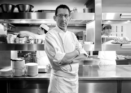 Executive Chef Simon Young Portrait at The Jumeirah Carlton Tower in Black & White