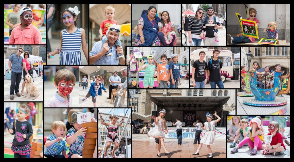 Photos of children and families at The City of London Community Fair - Public Service at Guild Hall Yard