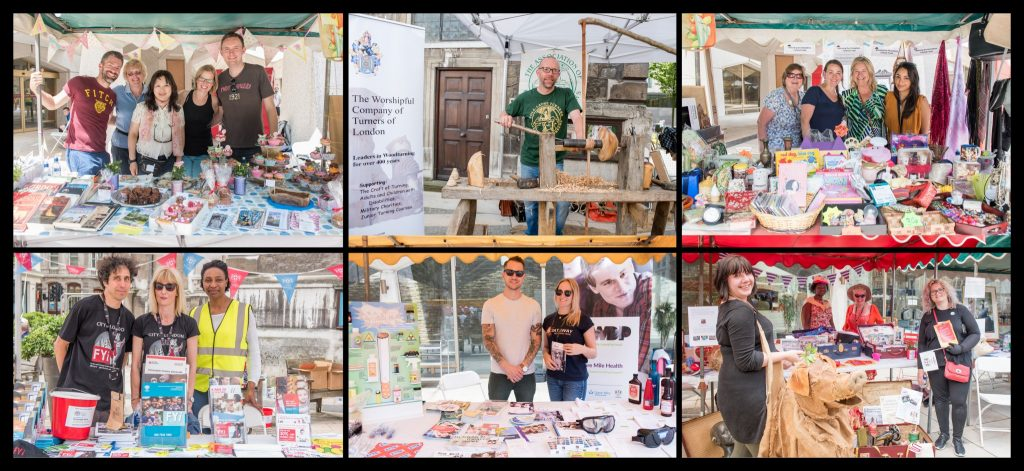Stall holders at The City of London Community Fair - Public Service at Guild Hall Yard